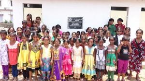 School Girls outside new toilet block